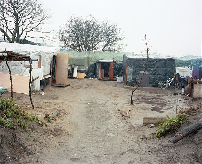February 22, 2016 - A courtyard of Sudanese dwellings along the Chemin des Dunes, southern zone, Jungle of Calais