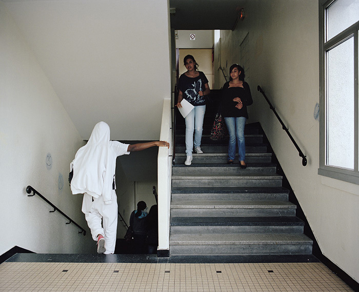 Changeover of lessons at secondary school, inner-city school Jean-Jaurès, Montreuil, 2010