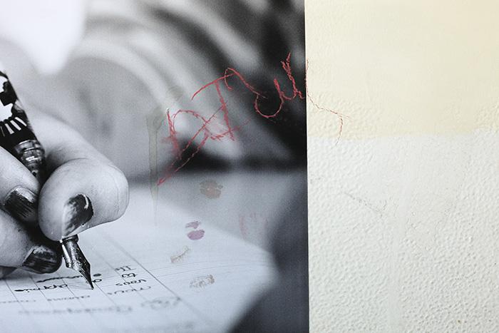 Détail d'une affiche, cité scolaire Jean-Jaurès, Montreuil, 25 mars 2012